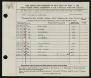 Entry card for LeMaster, George W. for the 1954 May Show.
