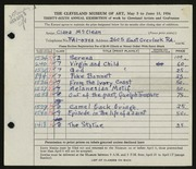 Entry card for McClean, Clara for the 1954 May Show.