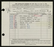 Entry card for McCullough, Joseph for the 1954 May Show.