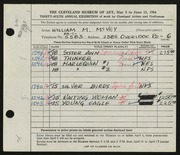 Entry card for McVey, William Mozart for the 1954 May Show.