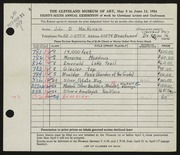Entry card for MacKenzie, John D. for the 1954 May Show.