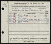 Entry card for Manning, Wray for the 1954 May Show.