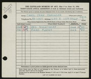 Entry card for Maringer, Carol for the 1954 May Show.