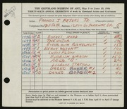 Entry card for Meyers, Francis J. for the 1954 May Show.