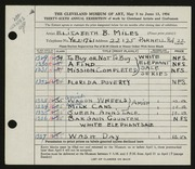 Entry card for Miles, Elizabeth B. for the 1954 May Show.