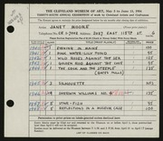 Entry card for Moore, Janet Gaylord for the 1954 May Show.