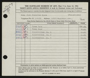 Entry card for Myers, Jack Frederick for the 1954 May Show.