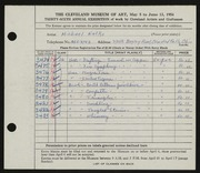 Entry card for Natko, Michael for the 1954 May Show.