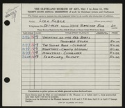 Entry card for Noble, Liza for the 1954 May Show.