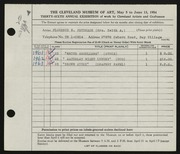 Entry card for Peterson, Florence N. for the 1954 May Show.