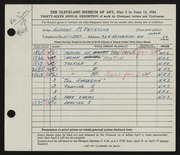 Entry card for Petrecca, Anthony M. for the 1954 May Show.