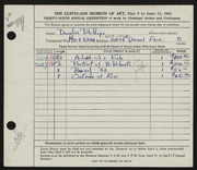 Entry card for Phillips, Douglas for the 1954 May Show.