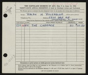 Entry card for Rosenblum, Ralph H. for the 1954 May Show.