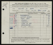 Entry card for Roth, Henry E. for the 1954 May Show.