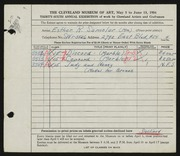 Entry card for Samolar, Esther R. for the 1954 May Show.