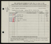 Entry card for Schmeckebier, Laurence Eli for the 1954 May Show.