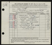 Entry card for Scott, Sam for the 1954 May Show.