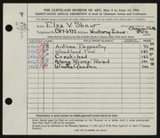 Entry card for Shaw, Elsa Vick for the 1954 May Show.