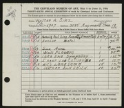 Entry card for Sinz, Walter A. for the 1954 May Show.