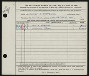Entry card for Soppelsa, Anthony J. for the 1954 May Show.