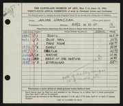 Entry card for Stanczak, Julian for the 1954 May Show.