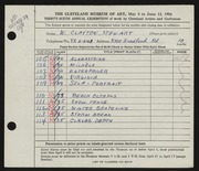 Entry card for Stewart, W. Clayton for the 1954 May Show.