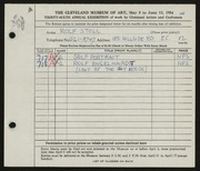Entry card for Stoll, Rolf for the 1954 May Show.