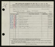 Entry card for Strickland, James Dudley for the 1954 May Show.