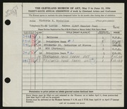 Entry card for Szobolics, Victoria H. for the 1954 May Show.
