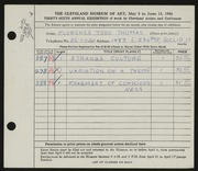 Entry card for Thomas, Florence Todd for the 1954 May Show.