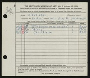 Entry card for Vago-Dixon, Diane for the 1954 May Show.