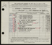 Entry card for Vaiksnoras, Anthony for the 1954 May Show.