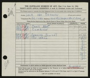 Entry card for Van Bergen, Jack for the 1954 May Show.