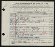 Entry card for Wilkenloh, Lillian for the 1954 May Show.