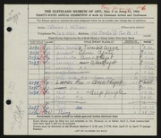 Entry card for Williams, Katherine for the 1954 May Show.