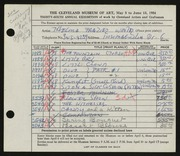Entry card for Winter, Thelma Frazier for the 1954 May Show.