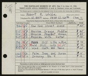 Entry card for Woide, Robert E. for the 1954 May Show.