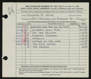 Entry card for Wood, Kenneth A. for the 1954 May Show.