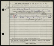 Entry card for Worth, William S. for the 1954 May Show.