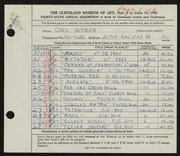 Entry card for Wyman, Carl for the 1954 May Show.