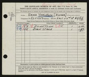 Entry card for Yarlekovic, Emma for the 1954 May Show.