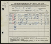 Entry card for York, Scott R. for the 1954 May Show.
