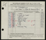 Entry card for Zaboly, T. J. for the 1954 May Show.