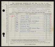 Entry card for Andrews, Mary Adelaide Fulton for the 1955 May Show.