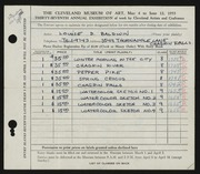 Entry card for Baldwin, Louise  for the 1955 May Show.