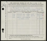 Entry card for Barrett, Richard S. for the 1955 May Show.