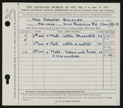Entry card for Bulkley, Dorothy for the 1955 May Show.