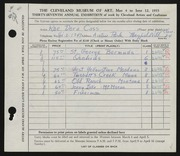 Entry card for Cass, Katherine Dorn for the 1955 May Show.