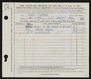 Entry card for Clague, John for the 1955 May Show.
