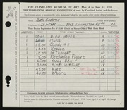 Entry card for Cochran, Ruth for the 1955 May Show.
